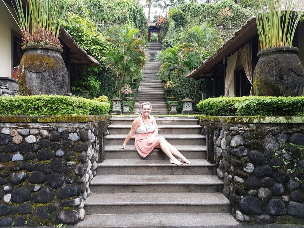 Sukhavati Ayurvedic Retreat Bali - Erin on stairs