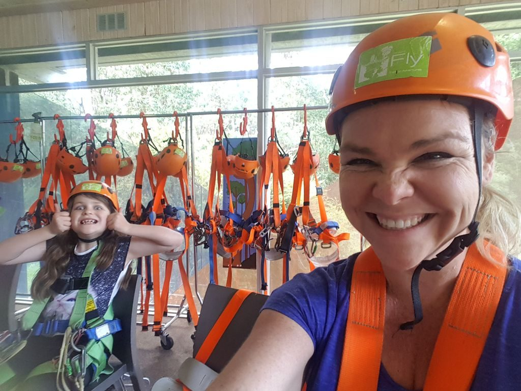 Otway Fly Treetop Adventures - Mia and I ready