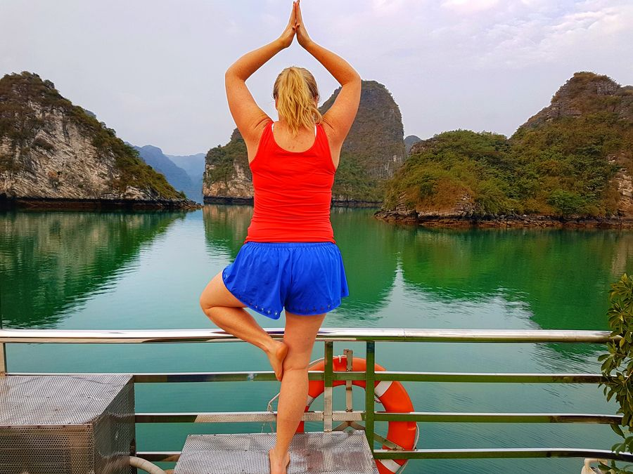 Halong Bay cruise yoga
