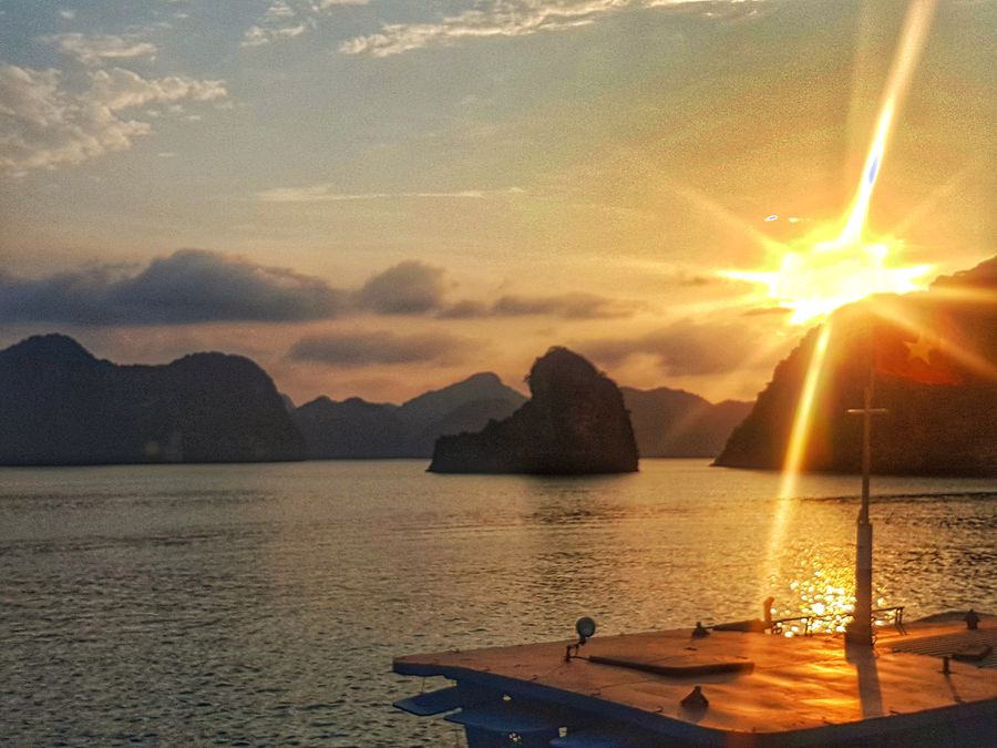 Halong Bay cruise sunset