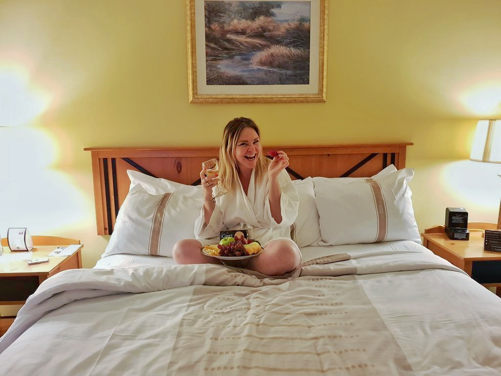 girl on hotel bed